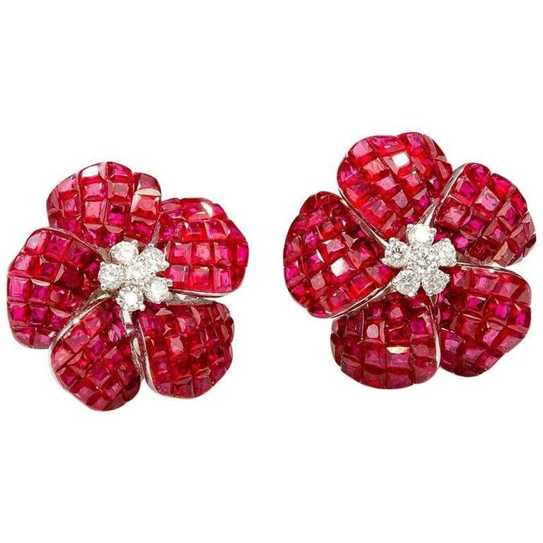 Ruby Invisible Flower Earrings