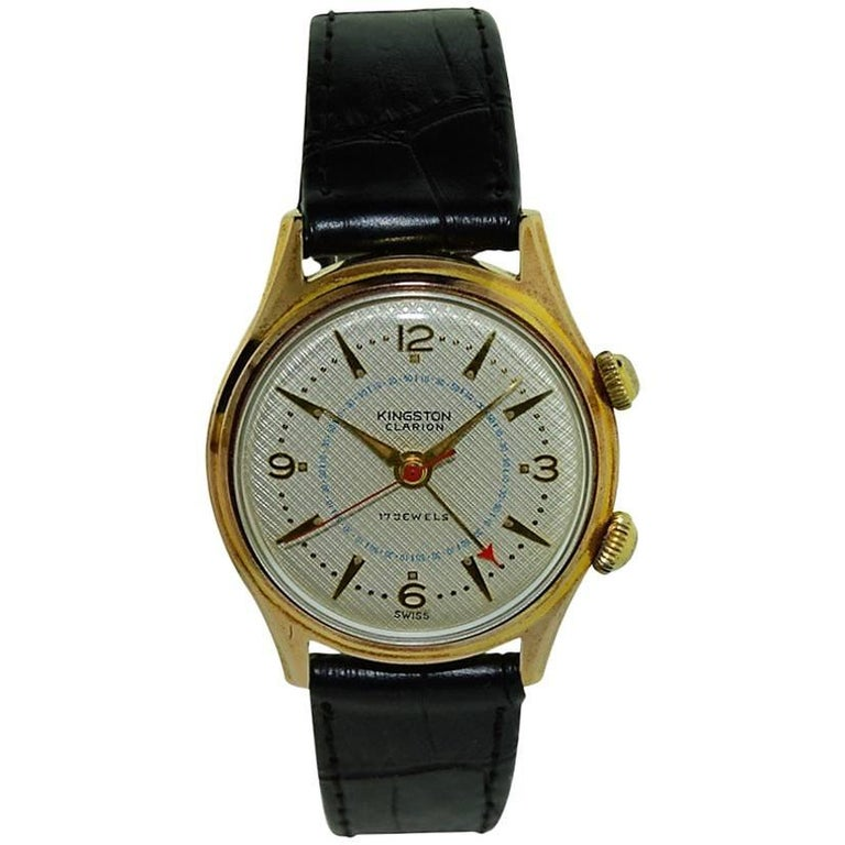 Kingston Yellow Gold Filled Waffle Dial Alarm Manual Wristwatch, circa 1950s