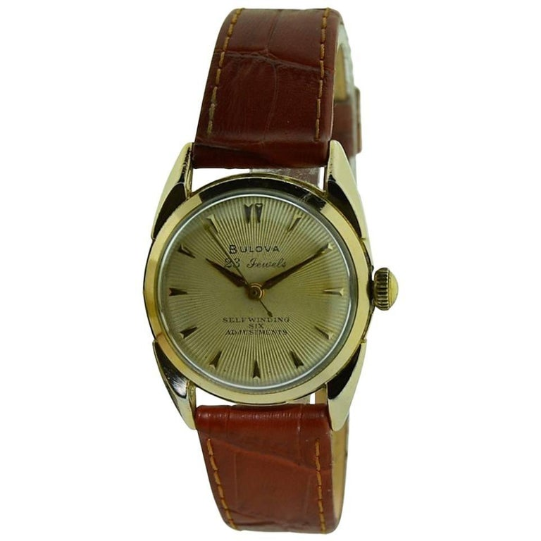 Bulova Yellow Gold Filled Art Deco Automatic Winding Watch, circa 1950s For Sale