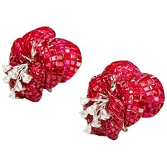 18K White gold Ruby Invisible Butterfly Flower Earrings