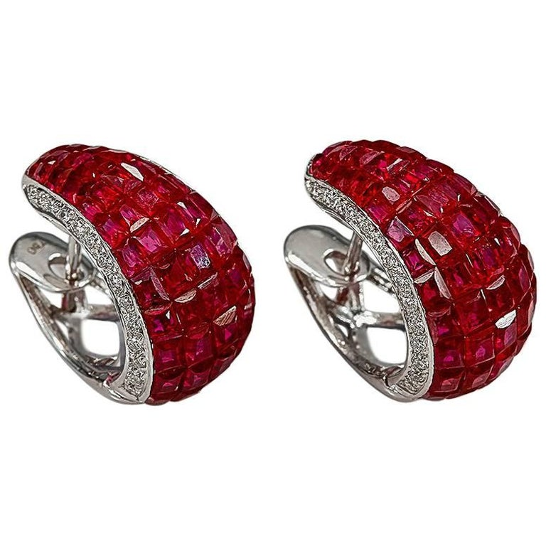 18K White gold Ruby Invisible Hoop Earrings For Sale