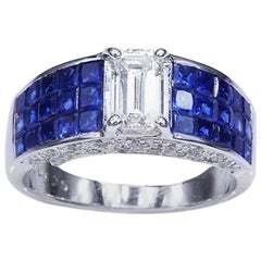 18K White gold Emerald Cut Diamond invisible with Sapphire Ring