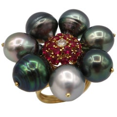 Tahitian Pearl Ring Yellow Gold Ruby Diamond
