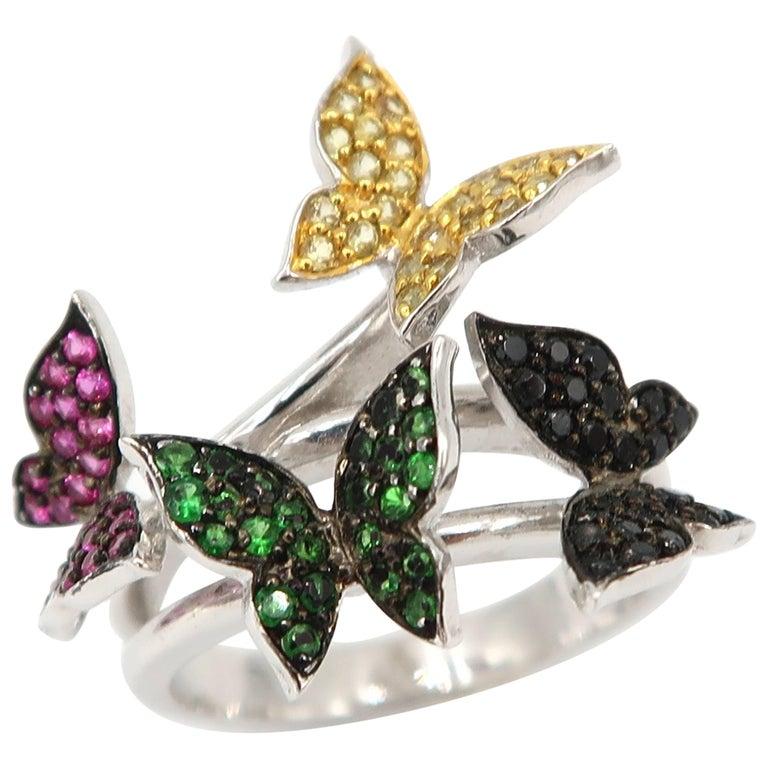 Ruby Tsavorite Yellow Sapphire Black Diamond White Gold Butterfly Ring