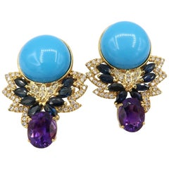 Boon Turquoise Amethyst Blue Sapphire Yellow Gold Unpierced Clip Earrings