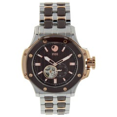 Rose and Silver Tone Mix with Brown Automatic Men Watch by Feri