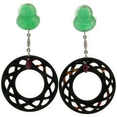 Jadeite Jade and Onyx White Gold 18 karat Drop Earrings