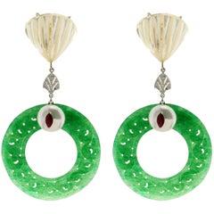 Jadeite Jade Nacre White Gold Drop Earrings