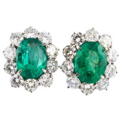 Drop White Gold Earrings with 4.04 Carat Diamonds and 5.83 Carat Emeralds