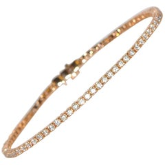White Brilliant 2 Carats Diamonds and Rose Gold 18 Carat Tennis Bracelet