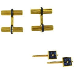 Van Cleef & Arpels Sapphire Gold Bar Vintage Cufflinks and Stud Set