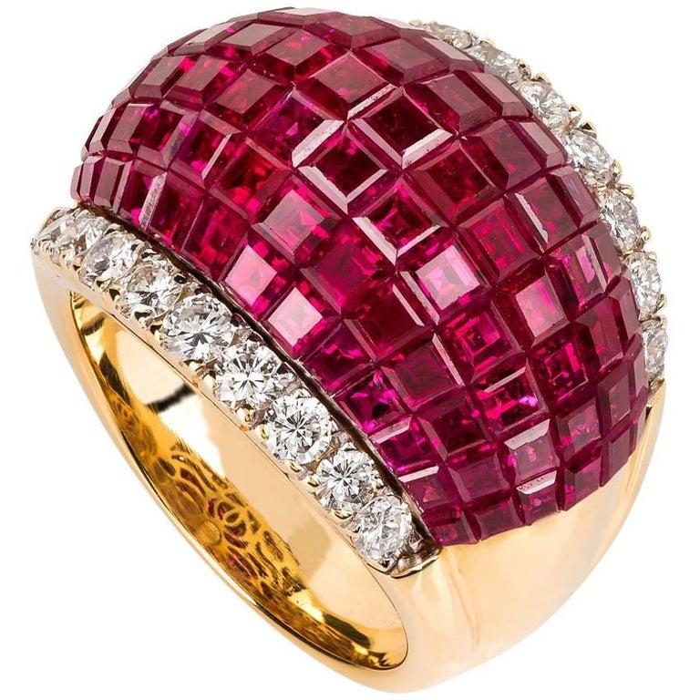 Pederzani Milano Invisible Set Ruby Diamond Gold  Ring For Sale