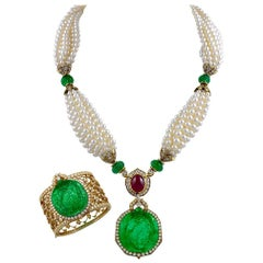Van Cleef & Arpels Carved Emerald Diamond Ruby  Pearl Necklace Suite