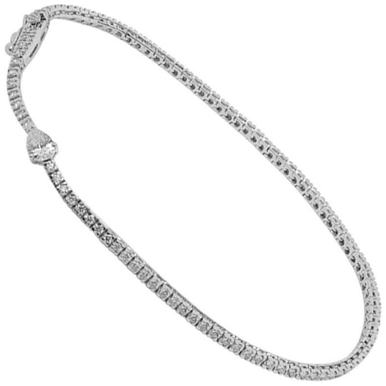 White Brilliant Diamonds with Pear Diamond White Gold Tennis Bracelet