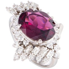 Diamond and Tourmaline Platinum Ring