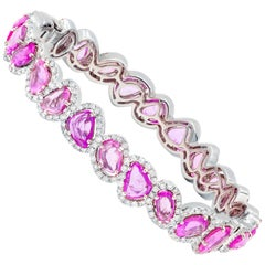 18 Karat White Gold, Diamond and Pink Sapphire Bracelet