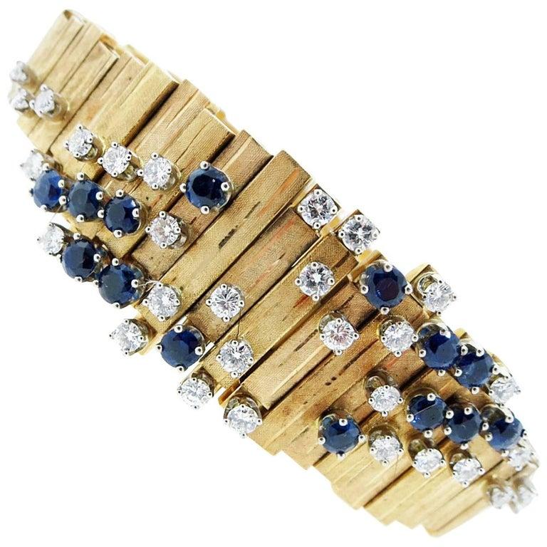 Modernist Design 18 Karat Sapphire and Diamond Bracelet
