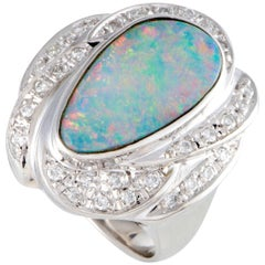 Diamond and Fire Opal Platinum Cocktail Ring