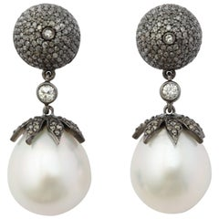 18 Karat Gold South Sea Pearl Drop Earrings with Antiqued Silver and Diamonds