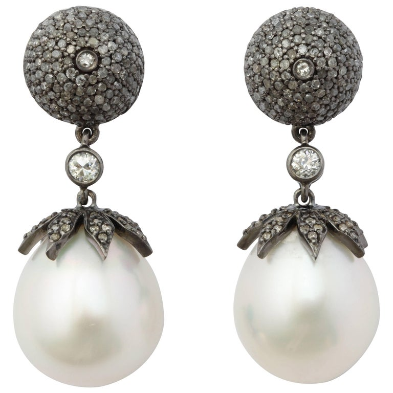 18 Karat Gold South Sea Pearl Drop Earrings with Antiqued Silver and Diamonds For Sale