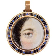 Early 19th Century Gold and Enamel Lover's Eye Pendant