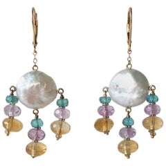 Blue Topaz, Amethyst, and Citirine Coin Pearl Earrings with 14 Karat Yellow Gold