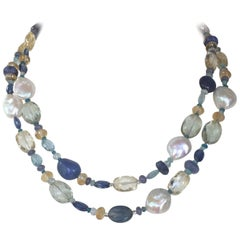 Baroque Pearl and Blue Semi-Precious Stone Long Necklace with 14 Karat Gold