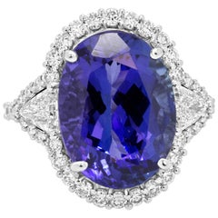 11.46 Carat Tanzanite Diamond Halo Gold Ring