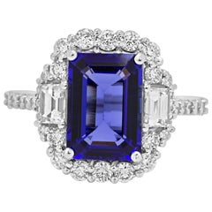 3.98 Carat Tanzanite Diamond Halo Gold Ring