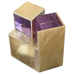 1990s Giampaolo Babetto Architectural Amethyst Cube Gold Ring