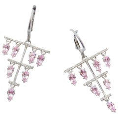 Pink Sapphire and White Diamond Dora Eardrops
