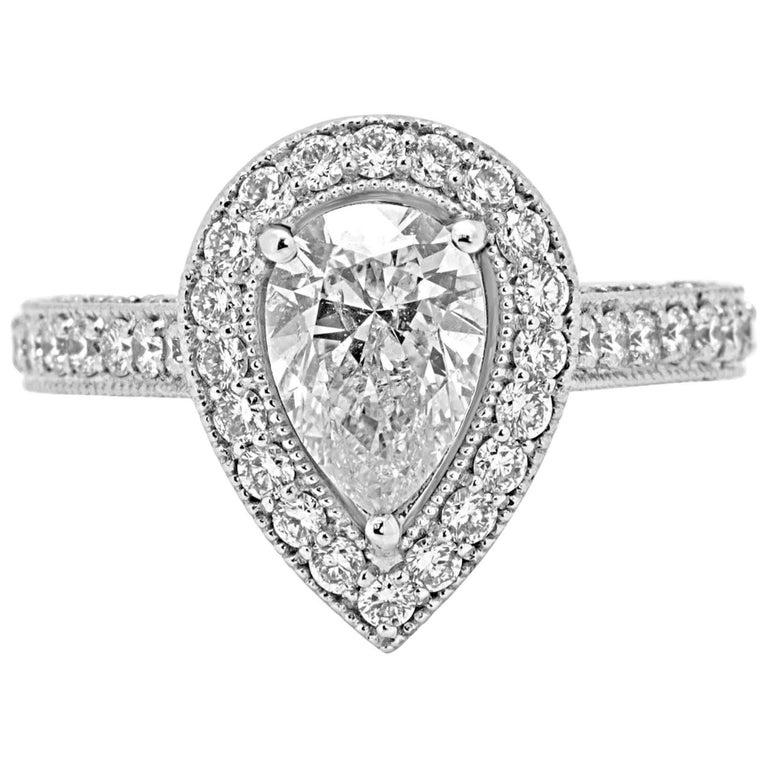 1.52 Carat Diamond Halo Gold Bridal Ring