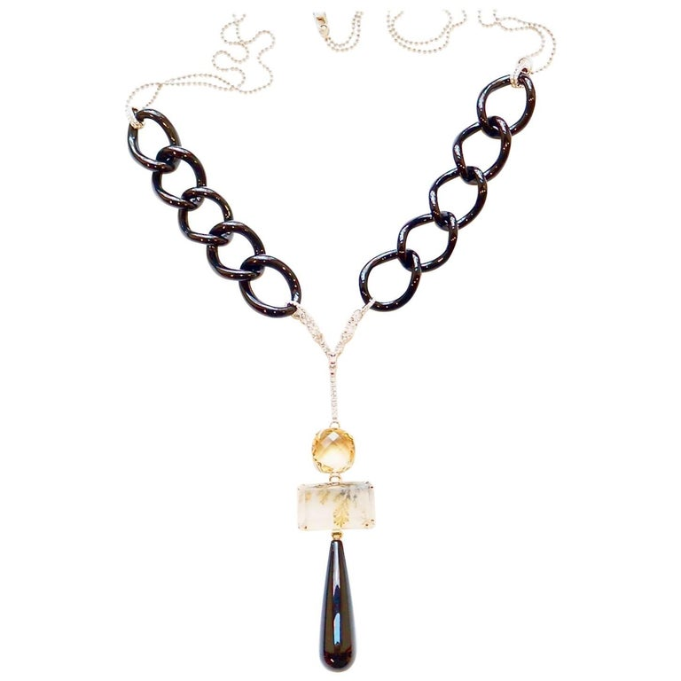 5ca8019231df39 Black Onyx, Quartz, Citrine and White Diamond Bumble Necklace For Sale