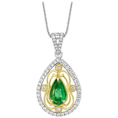 Emerald Diamond Two-Color Gold Pendant with Chain