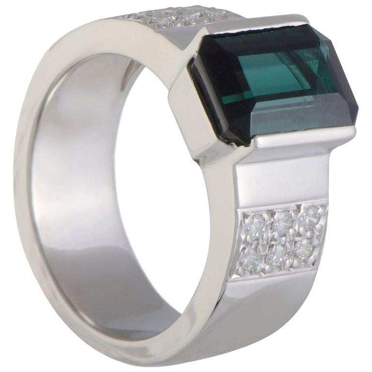Diamond and Tourmaline  Platinum Ring