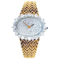 Lucien Piccard Yellow Gold Diamond Vintage Wristwatch