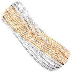 18 Karat Two-Tone Diamond Crisscross Bangle Bracelet