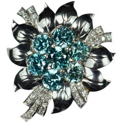 Blue Zircon White Diamond Platinum Flower Brooch