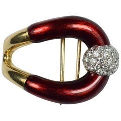 Vourakis Red Enamel Diamond Gold Buckle Brooch
