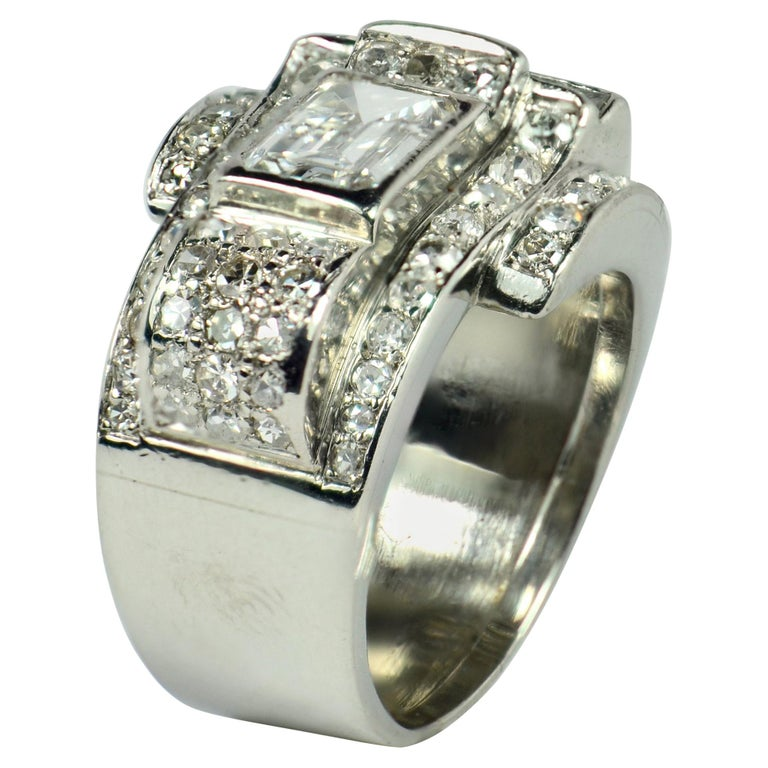 Art Deco Diamond Platinum Tank Ring