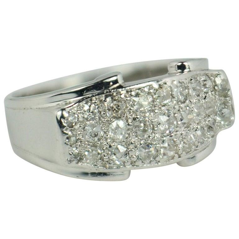 Diamond 18 Karat White Gold Bridge Ring