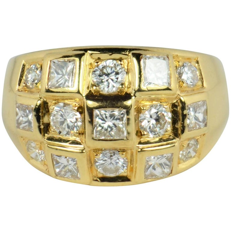Princess Cut Diamond Gold Bombe Ring
