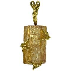 French Orange Topaz Crystal Gold Erotic Pendant
