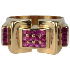 Art Moderne Ruby 18 Karat Gold Tank Ring