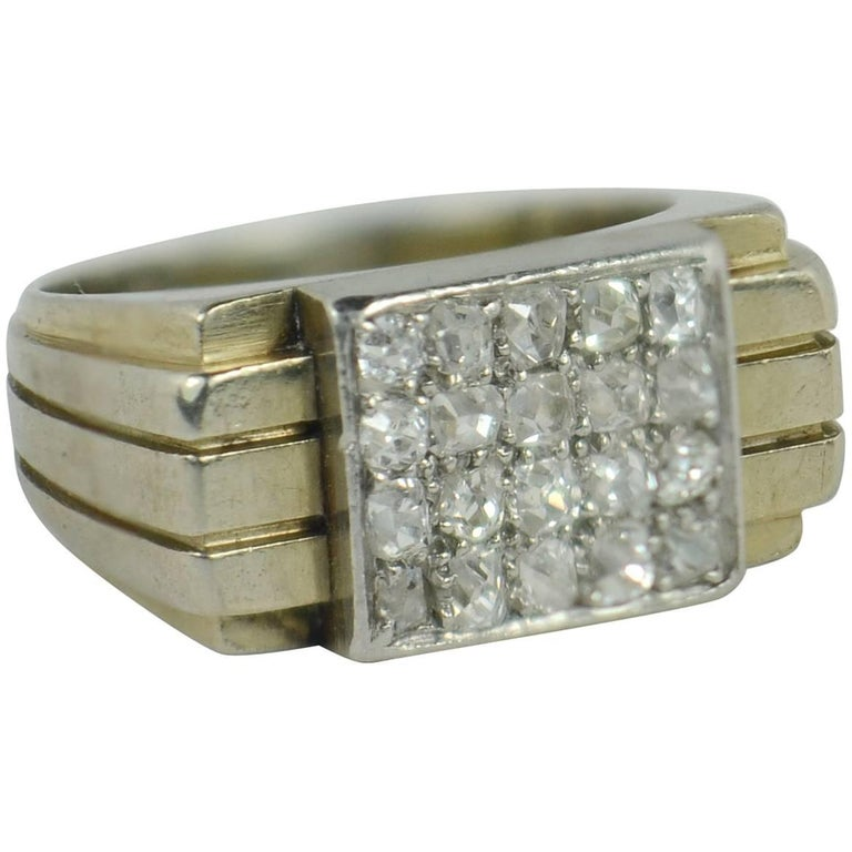 French Art Deco Diamond White Gold Pinky Ring