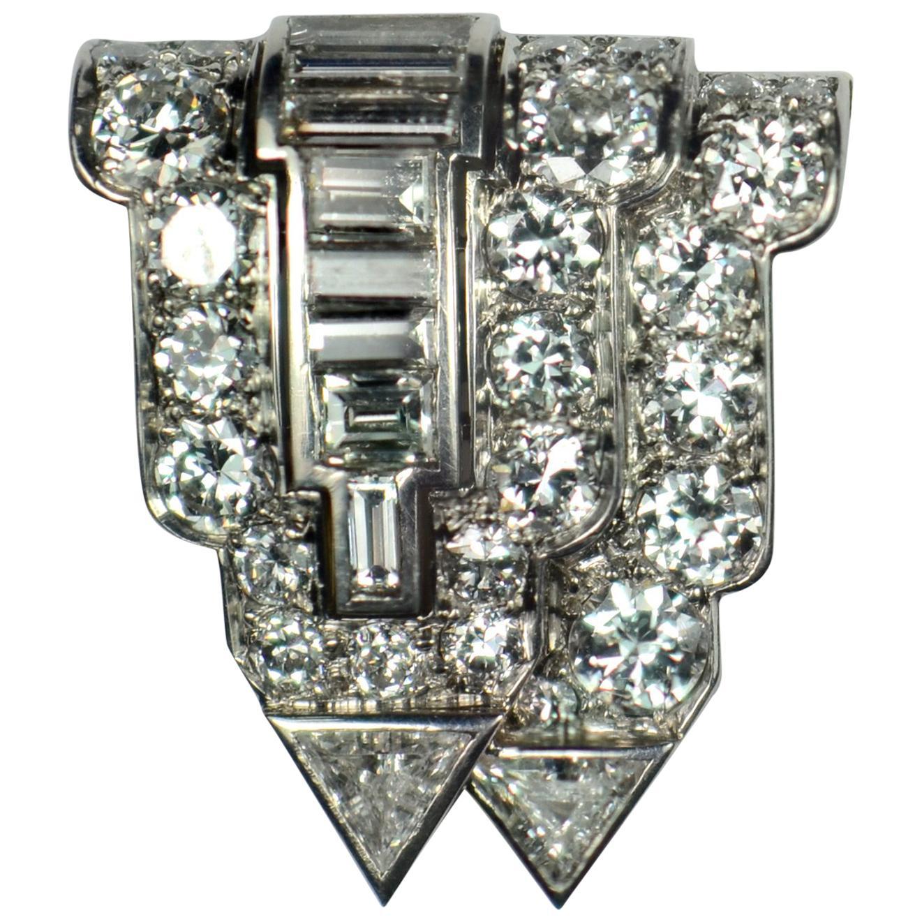 Art Deco White Diamond Platinum Gold Clip Brooch
