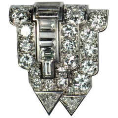 Art Deco White Diamond Platinum Gold Clip Brooch