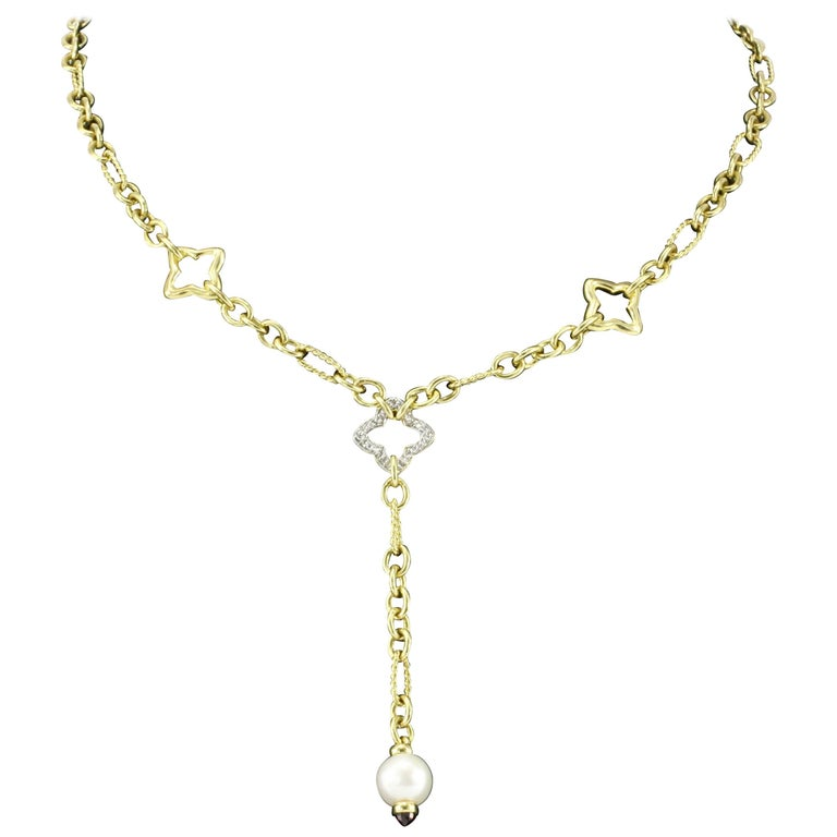 David Yurman 18 Karat Yellow Gold and Pearl Quatrefoil Link Drop Necklace