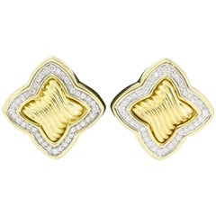 David Yurman 18 Karat Yellow Gold and Diamond Quatrefoil Earrings