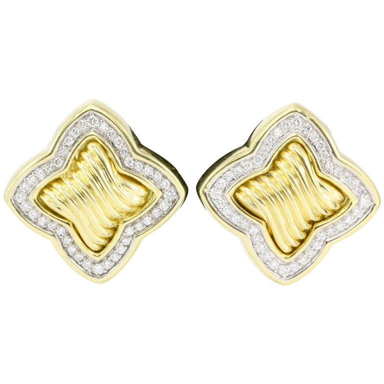 David Yurman 18 Karat Yellow Gold and Diamond Quatrefoil Earrings For Sale